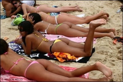 Brazilian ladies on the beach in thongs